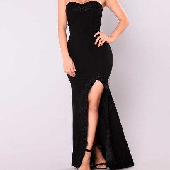 Fashion Nova Dresses Black Slit Maxi Prom Dress Poshmark